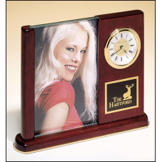 BC19 Rosewood stained piano finish desk clock with glass picture frame.